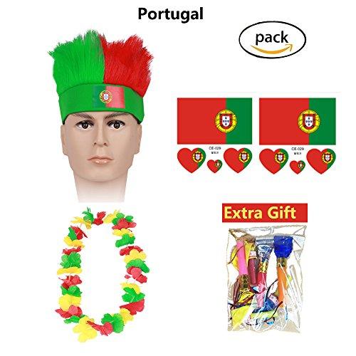 Generic Haar Perücken 2018 WM Fußball Fußball Fans Perücke Ausrüstung Kits Party Halloween Perücke Cosplay Kostüm Farbe Perücken Sport Flagge Stirnband (Portugal) (Comic Con Kostüme Einfach)