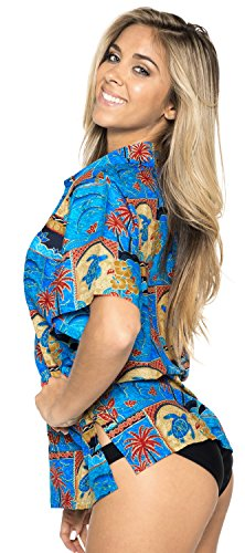 Hemdkragen Bluse oben kurzen �rmeln Knopf unten hawaiische Bademode Damen verschleiern Blau
