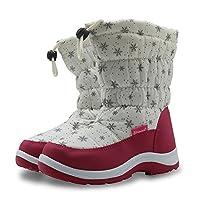 Kids Snow Boots Girls Winter Boot Girl Warm Shoe Wellington Boots Outdoor Hiking Keep Warm Winter Waterproof Casual Trendy Non-Slip Pull On Drawstring Closure Rainy Snow Wellies