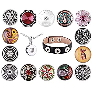 Morella Damen SMALL Click-Button Flower Set Halskette 3er Armband 13 Stück Druckknöpfe
