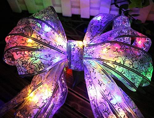 DIY Bogen Band LED Schnur leuchtet durch Batterie, 40 LEDs Bogen Knoten Licht Band Dekorationen für die Verpackung von Geschenken, Kleidung, Weihnachtsbaum oder Patry (4 Meter / 13Ft)