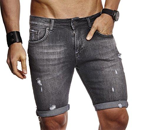 LEIF NELSON Herren Männer Jungen Sommer Jeans Shorts Jeanshose Chinos Cargo Bermuda Basic Kurze Hose 5-Pocket Destroyed Used Stretch Freizeithose Denim Slim Fit LN9130; W30; Schwarz - China Männer