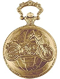 "Dice Pocket watch-G310"" Unisex Antique case Classic Vintage Rib Chain Quartz, Steel Gray Metallic Tone Golden Colour Outer Body Shows Embossed Bike."
