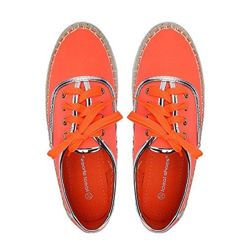 ... Ideal Shoes – Espadrilles Style Sneakers mit Sohle aus Radierer Candia  Orange - Orange