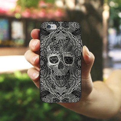 Apple iPhone X Silikon Hülle Case Schutzhülle Skull Lace Totenkopf Muster Silikon Case schwarz / weiß
