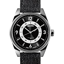 MEDOTA Grancey Men's Automatic Water Resistant Analog Quartz Watch - No. 2802 (Silver/Black)