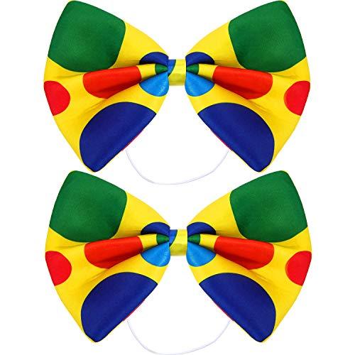 Zirkus Halloween Kostüm - SATINIOR 2 Packungen Jumbo Clown Bowtie Zirkus Tupfen Übergroße Fliege für Halloween Karneval Zirkus Kostüm Kostüm