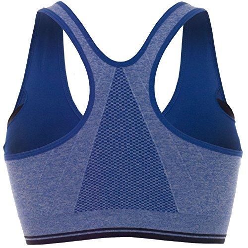 Confort Femmes Push-Up avec Temple soutien-gorge de Sport Stretch Sport Fermeture éclair 20643 Bleu