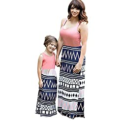 Covermason Geometry Printing Matching Dresses, Mommy and Me Sleeveless Maxi Family Clothes Outfit For Party Vacation Event