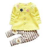 Chandal Para Niña K-youth® Chandal Bebé Unisex Lindo Flores Sudadera Tops y Pantalones para Niñas Niños (Amarillo, 1-2 años)