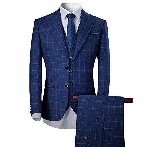 Sliktaa Anzug Herren Slim Fit 3-Teilig für Business Hochzeit Zwei Knöpfe und Anzug Weste und Hose Saphir X-Large -