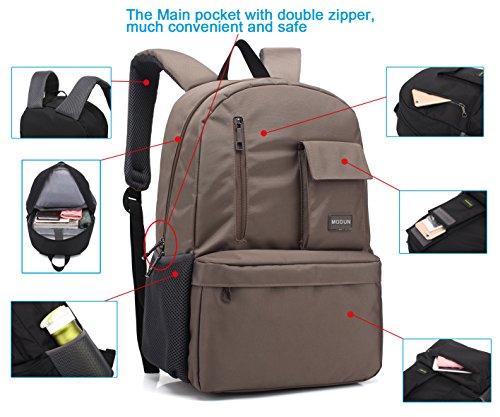 Imagen de 15.6 pulgadas de trabajo  /  de negocios /  de ordenador portátil para hombres y mujeres, caqui peso ligero resistente al agua hombro bolsa casual para la escuela, el trabajo, viajes alternativa