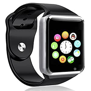 Apple Smart Watch Silver colour Compatible with Celkon Campus One Bluetooth GT08 Wrist Watch Phone with Camera & SIM Card Support New Arrival Best Selling Lowest Price with Apps Touch Screen, Multi Language with all mobile phones (42 mm) By mobicell