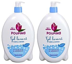 Poupina - Hygiène et Soin Bébé - Gel Lavant Corps & Cheveux - 750 ml - Lot de 2