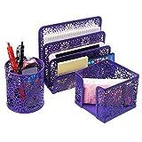 Schreibtisch Organizer BELLESTYLE 3 in 1 Set Desktop Bleistift Stick Notizhalter Brief Tray Office Zubehör Caddy Purple