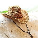 HOOM-Locations de couple chapeau de cowboy chapeau de paille, chapeau de plage ,Brown...