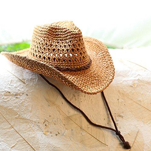 hoom-locations-de-couple-chapeau-de-cowboy-chapeau-de-paille-chapeau-de-plage-brown