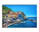 Sinus Art Wandbild 120x80cm Landschaftsfotografie – Farbenfroher Hafen, Cinque Terre, Italien auf Leinwand für Wohnzimmer, Büro, Schlafzimmer, Ferienwohnung u.v.m. Gestochen scharf in Top Qualität