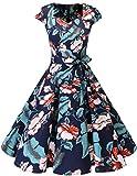 Dresstells Vintage 50er Swing Party kleider Cap Sleeves Rockabilly Retro Hepburn Cocktailkleider Navy Flower M