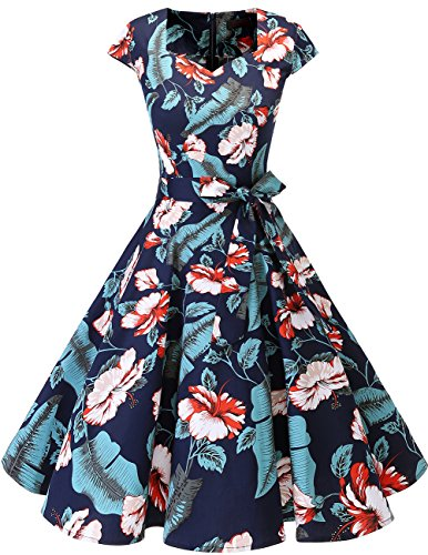 Dresstells Vintage 50er Swing Party kleider Cap Sleeves Rockabilly Retro Hepburn Cocktailkleider Navy Flower S