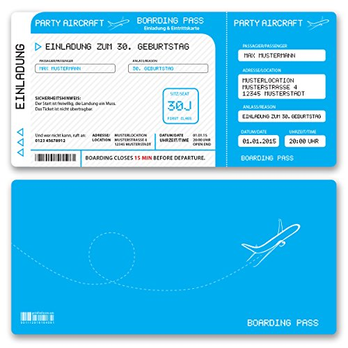 (30 x) Einladungskarten Geburtstag Flugticket Ticket Karte Einladungen in Hellblau