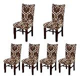 Housses pour chaises de salle à manger, Pack de 6Housses élastiques bâches de sièges amovible LAVABLE avec dessin de la maison, Bouquet de Fleurs pour Mariage, Hôtel Restaurant (6unités) 2#