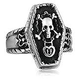 Blisfille Herren Ring Edelstahl Punk Ring Fingerring Schild Skelett Daumenring Herren Edelstahl Silber