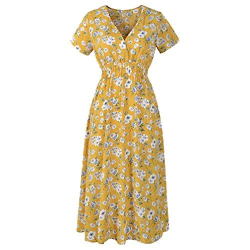 VEMOW Sommer Elegant Damen V-Ausschnitt Urlaub Blumendruck Kleid Casual Täglichen Urlaub Business...