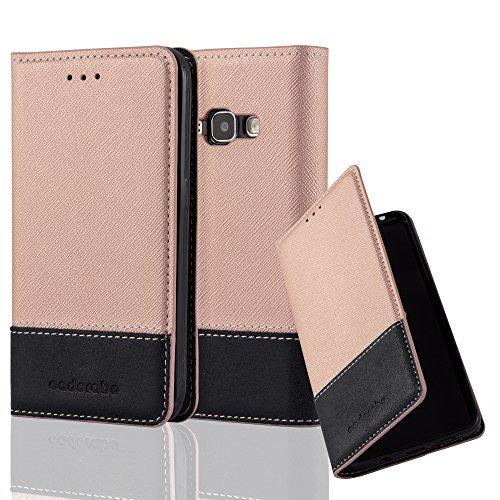 Preisvergleich Produktbild Cadorabo Hülle für Samsung Galaxy J1 2016 (6) - Hülle in Rose Gold SCHWARZ – Handyhülle mit Standfunktion und Kartenfach aus Einer Kunstlederkombi - Case Cover Schutzhülle Etui Tasche Book