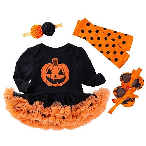 Kostüm Kleinkind Kittel - BaZhaHei Halloween Kostüm Kinder Kleinkind-Baby-Halloween-Kürbis-Spielanzug-Kleid Hairband Shoes Stocking Set Festival Cosplay Halloween Outfits Set