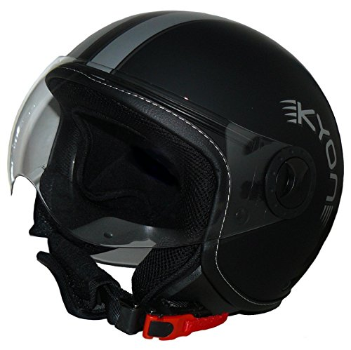 Protectwear - Casco de cara abierta en diseño piloto H710 stripes - L