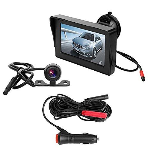 OBEST 4.3' TFT® LCD Kit de cámara de seguridad para aparcamiento sistema de asistencia con visión nocturna, fácil instalación, HD retrovisor de visión trasera, impermeable, cámara de marcha atrás para camiones, Ford y Toyota
