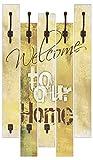 Artland Wand-Garderobe mit Motiv 5 Holz-Paneele mit Haken W. L. Willkommen in unserem Zuhause Statement Bilder Sprüche & Texte Graphische Kunst Ocker 114 x 68 x 2,8 cm