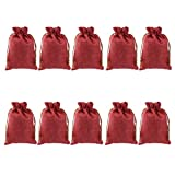 Importe Phenovo Linen Jute Sack Jewelry Pouch Drawstring Gift Bags 10PCS Deep Wine