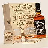 6-tlg Whisky Geschenk-Set mit Jack Daniels No.7 | 2 Gläser, 2 Untersetzer und Whiskey Flasche in Geschenk-Box mit Gravur Motiv - Original-Exklusive