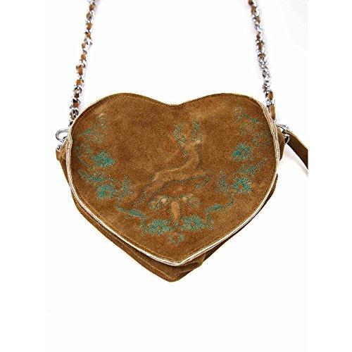 Almbock Trachten-Tasche Gerti Herz in braun - verziert mit Stickerei in grün, edel für die Lady, mit eleganter Leder-Kette, individuell (Verziert Mieder)