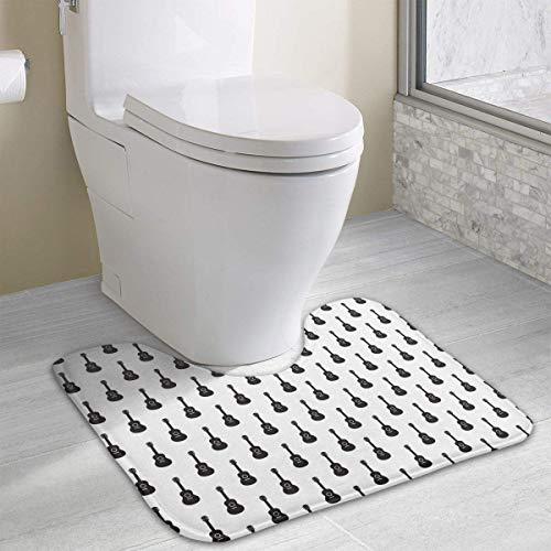 (Hoklcvd Guitar Pattern U-Shaped Toilet Floor Rug Non-Slip Toilet Carpets Bath Mats Rug)