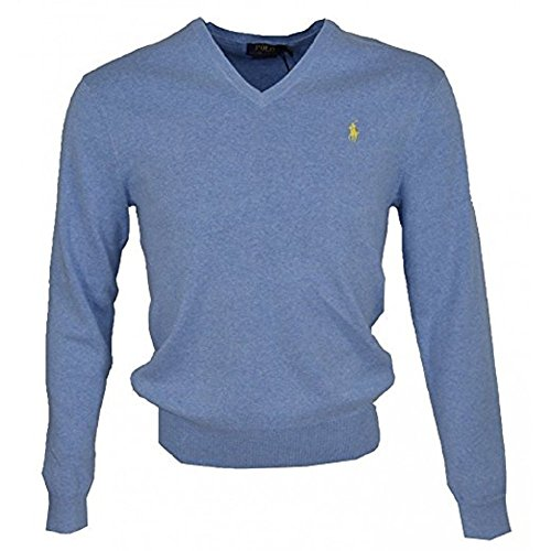 Ralph Lauren Polo-Shirt V-Ausschnitt Pima Baumwolle Pony Sweatshirt mit Logo pale royal
