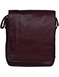 Woodons Premium Unisex Leather Sling Bag (Brown, STB60)