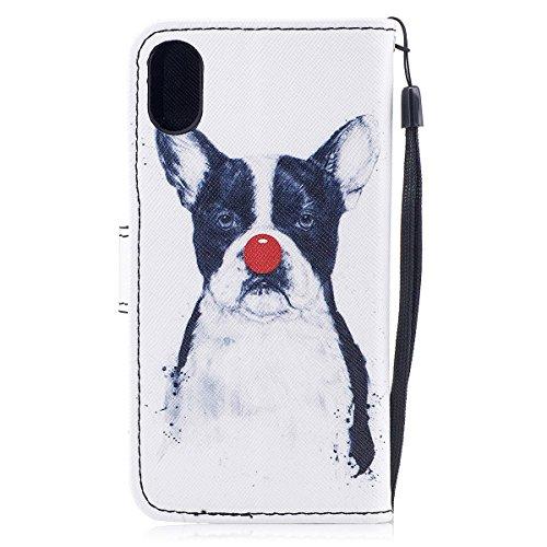 inShang Hülle für iPhone X 5.8 inch mit integriertem Brieftaschen-Design, iPhoneX 5.8inch cover case mit Standfunktion. Clown dog