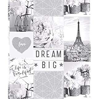 Arthouse Life is Beautiful Mono Wallpaper 692100 - Glitter Paris City Love Heart
