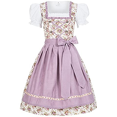 3 piece traditional Jojo in flower print Dots purple dirndl set: dress, blouse and apron for Oktoberfest, carnivals or theme parties Size