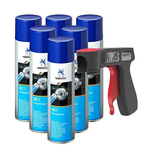 AUPROTEC Bremsenreiniger MC-1 Multicleaner Spray Intensiv Reiniger transparent 6X 500ml + 1x Original Pistolengriff -