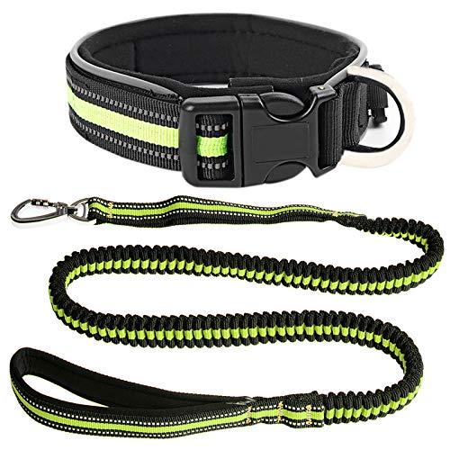 Flyproshop Hundeleine und Hundehalsband-Set, elastische schwere Hundeleinen Halsband Starkes Kettenseil Nylon Verstellbare Schleifen-Trainingstraktion 5ft bis 8.2ft Refective pet Lead für Das Laufen