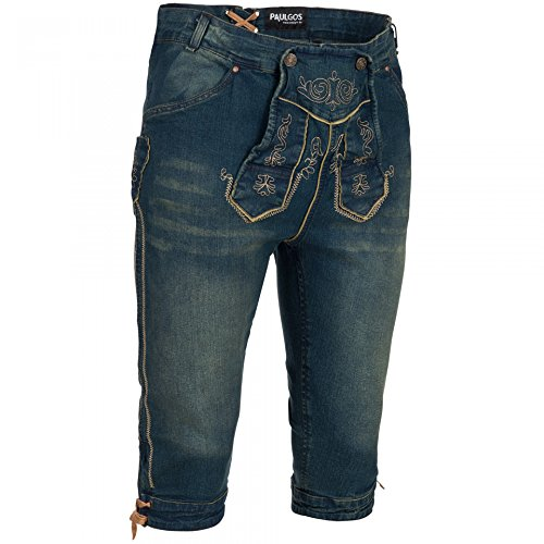PAULGOS Herren Trachten Jeans in Optik Trachten Lederhose Kniebund Blau, Größe Lederhose:52