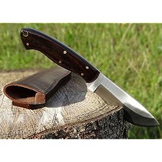 Maximtac Jagdmesser, Ebenholz-Griff, mit Lederholster, feststehende Full Tang Klinge aus Edelstahl, Scheide aus Rind-Leder Outdoormesser
