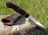 Maximtac Coltello da caccia con manico in ebano, manico in pelle, lama fissa in acciaio INOX, fodero in pelle bovina, manico in legno