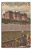 Tacoma, Washington–Stade High School, Bois dense, multicolore, 10 x 15 Wood Sign