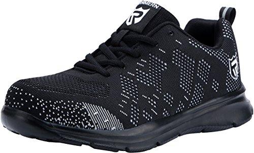 Scarpe Antinfortunistiche Uomo con Punta in Acciaio,LM-123,Sneaker da Lavoro Leggere ed Eleganti (43.5 EU, Nero Bianco)