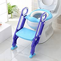 BAMNY Potty Training Toilet Seat Adjustable Toddler with Step Stool Ladder for Toilets 38-42cm, Anti-Slip, Sturdy(up to 75kg), Foldable for 1-7 Kids (Blue,18 months warranty)